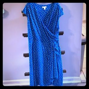 Blue and White Polka Dot Business Casual Dress